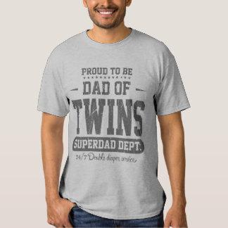 Fier d'être papa des jumeaux Superdad Dept. Grey Tee-shirts