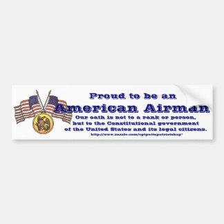 Fier d'être un aviateur américain autocollant de voiture
