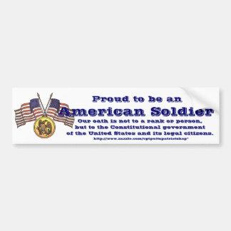Fier d'être un soldat américain autocollant de voiture