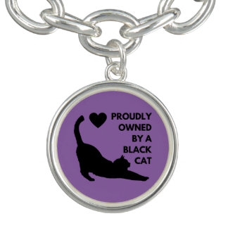 Fièrement possédé par un chat noir bracelets avec breloques