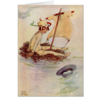 Figure vintage de Peter Pan à customiser Carte De Vœux