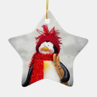 Figurine de pingouin avec l'arbre de Noël blanc Ornement Étoile En Céramique
