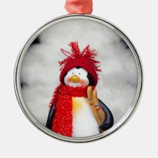 Figurine de pingouin avec l'arbre de Noël blanc Ornement Rond Argenté
