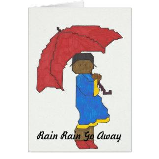 Fille avec la carte de voeux rouge de parapluie