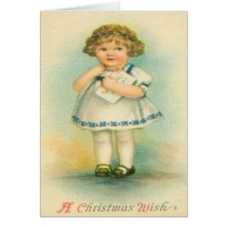 Fille avec la lettre à Père Noël Carte