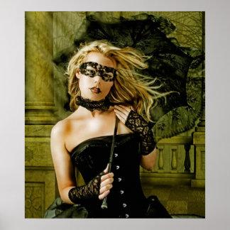 Fille blonde de mascarade avec des beaux-arts de p