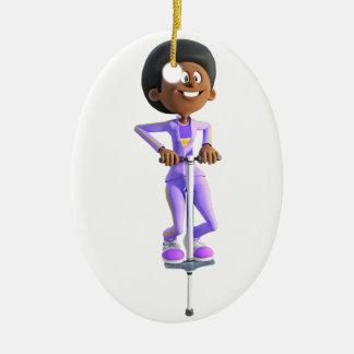 Fille d'Afro-américain de bande dessinée montant Ornement Ovale En Céramique
