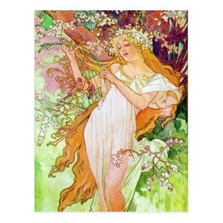 Fille d'Alphonse Mucha en carte postale de jardin