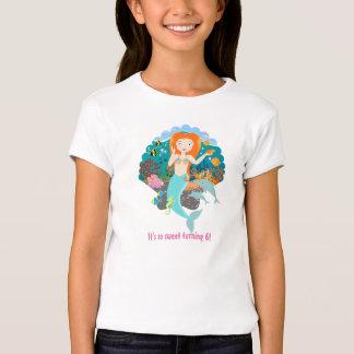 Fille d'anniversaire de sirène t-shirt