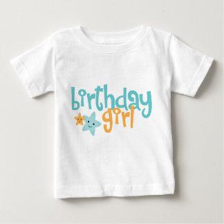 Fille d'anniversaire - étoile de mer mignonne t-shirt pour bébé