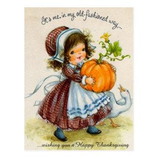 Fille de jour vintage de thanksgiving carte postale