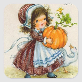 Fille de jour vintage de thanksgiving sticker carré