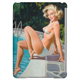 Fille de pin-up blonde sexy de piscine à la rétro