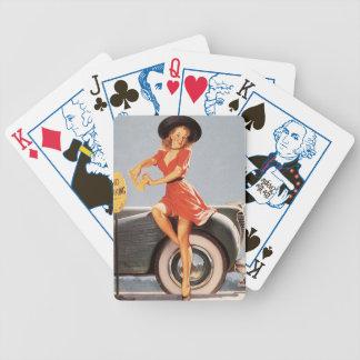 Fille de pin-up vintage de cartes de jeu rétro (36 jeu de poker