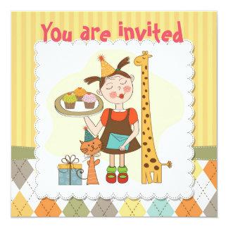 Fille et animaux mignons de gâteau d'anniversaire carton d'invitation  13,33 cm