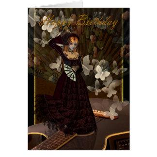 Fille gothique de joyeux anniversaire avec carte de vœux