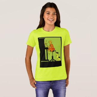 Fille jouant le piano, chien, rétro style t-shirt