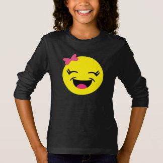 Fille mignonne et heureuse d'Emoji T-shirt