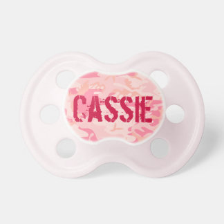 Fille personnalisée mignonne rose Binky de Camo | Tétine