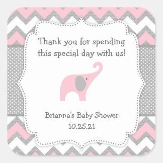 Fille rustique de faveur de baby shower d'éléphant sticker carré