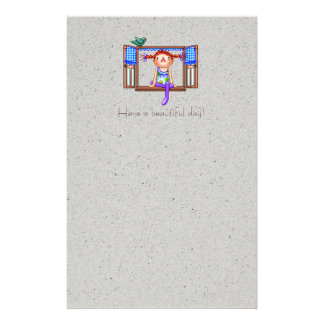 Fille sur un art de pixel de filon-couche de papiers à lettres