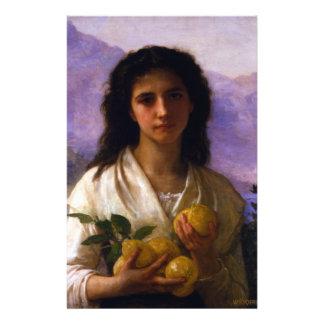 Fille tenant des citrons par William-Adolphe Prospectus 14 Cm X 21,6 Cm