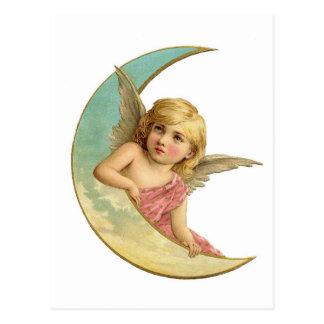 Fille victorienne vintage de lune d'ange cartes postales