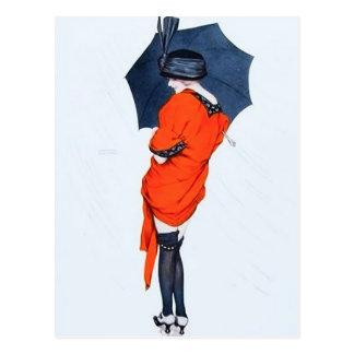 Fille vintage avec la carte postale de parapluie