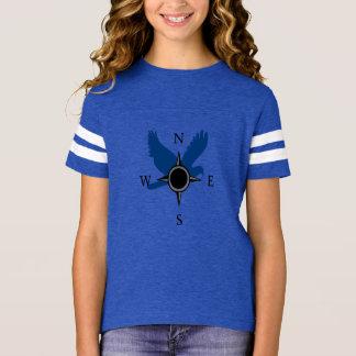 Filles faucon et T-shirt de boussole dans le bleu