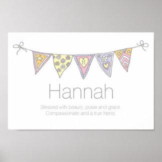 Filles nom de Hannah et affiche d'étamine de