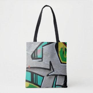 Fin à la mode abstraite de graffiti vers le haut tote bag