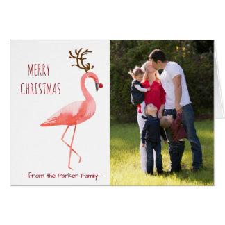 Flamant drôle de Rudolph de carte photo de Noël