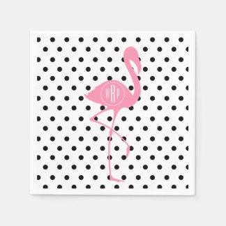 Flamant rose décoré d'un monogramme + Point de Serviettes Jetables