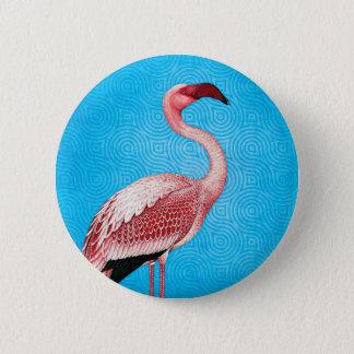 Flamant rose sur le rétro motif bleu badge rond 5 cm