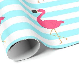 Flamant rose sur les rayures turquoises légères papier cadeau noël