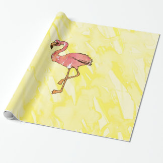 Flamants roses mignons d'aquarelle sur le jaune papier cadeau