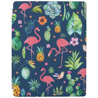 Flamants roses mignons et motif de fleurs tropical protection iPad