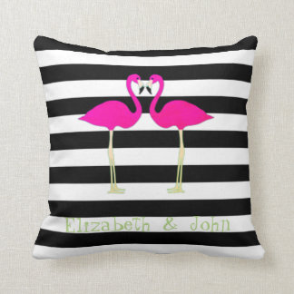 Flamants roses, noir, rayures blanches coussin