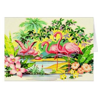 Flamants vintages de carte de Merci hawaïen de