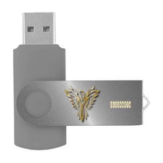 Flammes d'or en hausse d'or de Phoenix avec des Clé USB