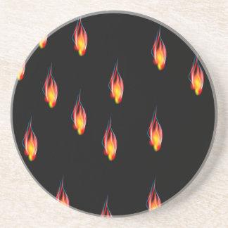 Flammes du feu dessous de verre en grès