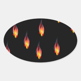 Flammes du feu sticker ovale