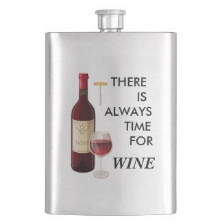 Flasque Bouteille et verre de vin Animated
