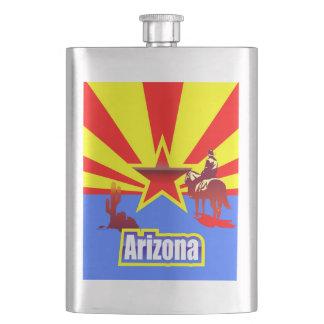 Flasque Dessin vintage de drapeau d'état de l'Arizona