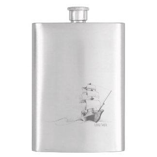 Flasque Monogramme. Croquis nautique vintage de thème