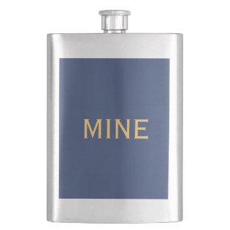 Flasque Seulement couleur solide élégante en acier bleue