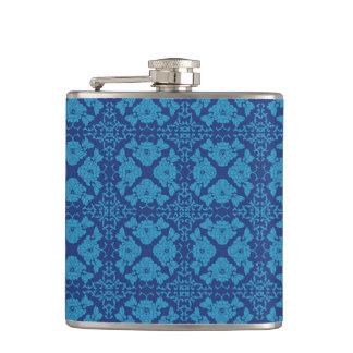 Flasques Bleu floral géométrique vintage sur le bleu