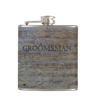 Flasques Bois affligé par mariage rustique | Groomsman