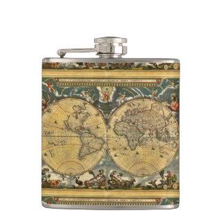 Flasques Carte antique du monde - Joan Blaeu - 1664