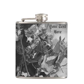 Flasques chevaliers médiévaux joutant sur l'art de chevaux